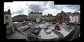 Le chantier de la future station sur la place Saint-Germain en juillet 2017.