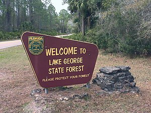 Lake George State Forest welcome sign