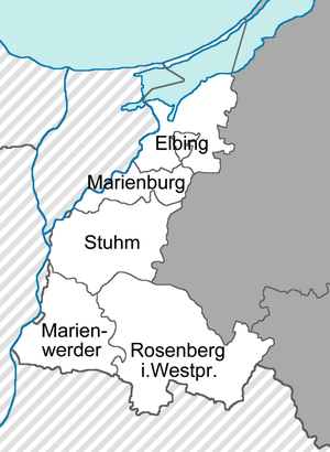 Marienwerder (district) - Marienwerder district among the other districts within the Region of West Prussia (1922-1939)