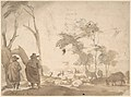 Landscape with Sheep and Two Figures (recto); Faint Sketch of a Figure with a Hat (verso) MET DP800191.jpg