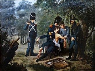 Dominique Jean Larrey - Lerrey amputating the arm and leg of colonel Rebsomen at Hanau (1813).