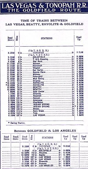 Las Vegas and Tonopah Railroad - 1910 train schedule.