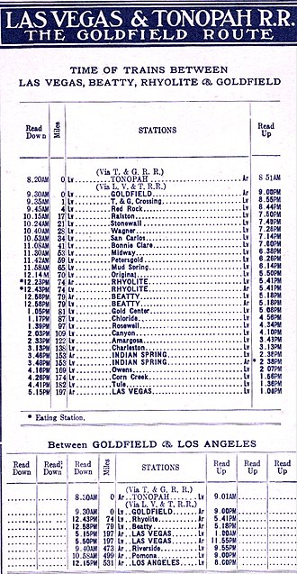 Las Vegas and Tonopah Railroad - 1910 train schedule.
