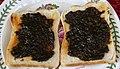 Laverbread or Bara Lawr (Porphyra umbilicalis) on Toast.jpg