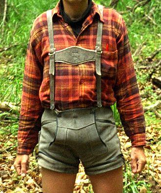 Lederhosen - Boys' lederhosen, usually shorter than men's and lacking embroidery. Note the drop-front flap that is typical of lederhosen.