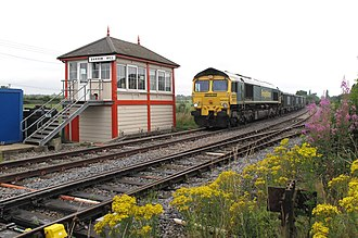 Bardon Hill box in England (seen here in 2009) is a Midland Railway box dating from 1899, although the original mechanical lever frame has been replaced by electrical switches. LeicesterAndSwannington02A.jpg