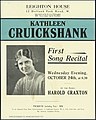 Leighton House (12 Holland Park Road, W). Kathleen Cruickshank, first song recital, Wednesday evening, October 24th at 8.30. At the piano, Harold Craxton. Baines and Scarsbrook Ltd., printers, Swiss (20660921743).jpg
