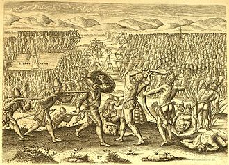 Potano - The Potano being defeated by Chief Utina with the assistance of French forces.  This image supposedly based on an original etching by Jacques le Moyne is unlikely to depict Native American warfare accurately
