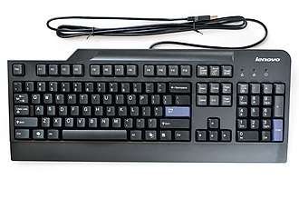 Computer keyboard - A standard wired computer keyboard by Lenovo