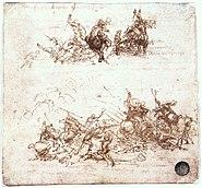 Leonardo da vinci, Study of battles on horseback and on foot 02
