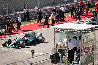 Mercedes AMG F1 W08 EQ Power+ - Lewis Hamilton took the pole position of the 2017 United States Grand Prix and leads the field just before the formation lap.