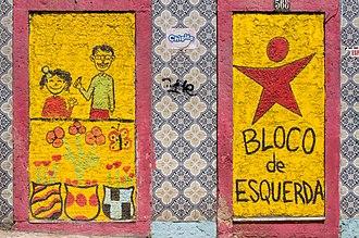 Left Bloc - Pro-Left Bloc graffiti on the façade of a vacant house in Rato, Lisbon