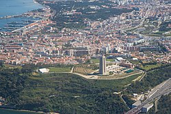 Aerial view of Almada with the famous Sanctuary of Christ the King