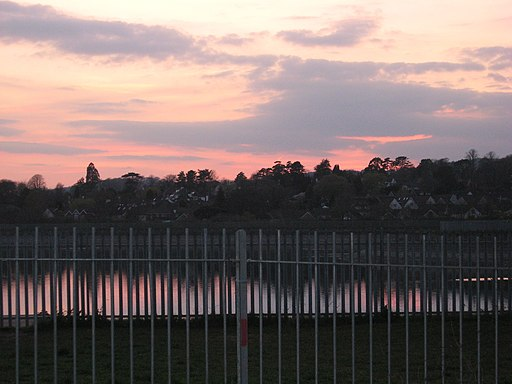 Llanishen reservoir (semi-drained) - View over Lisvane at dusk