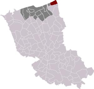 Bray-Dunes - Location of Bray-Dunes in the arrondissement of Dunkirk