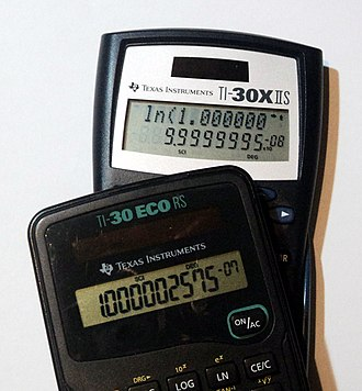 """TI-30 - Demonstration of the so-called """"logarithm bug"""" that exists in some TI-30 models. In both cases, the value of ln(1.0000001) was calculated."""