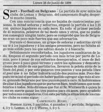 Rugby union in Argentina - One of the matches played in the first Torneo de la URBA championship in 1899, as covered by La Nación newspaper.
