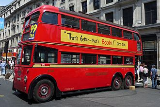 Trolleybuses in London - Preserved British United Traction trolleybus on Regent Street in June 2014