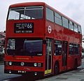 London Transport bus T64 (WYV 64T), 1979 Leyland Titan (B15), Gants Hill, route 66, 19 April 1980.jpg