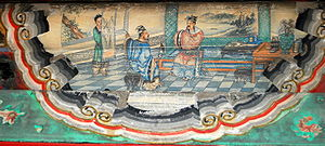 Longzhong Plan - Liu Bei and Zhuge Liang discussing the Longzhong Plan. Mural at the Long Corridor of the Summer Palace, Beijing.