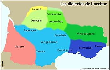 Dialectes de l'Occità, amb els seus noms occitans