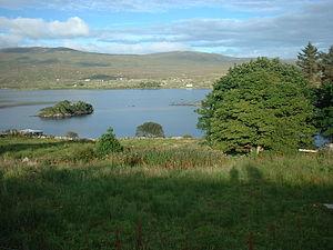 "Loch an Iúir - Loch an Iúir or ""Lake of the Yew Tree"", with Oilean Iúir clearly visible"