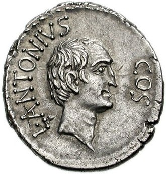 Mark Antony - Antony's brother Lucius, on a coin issued at Ephesus during his consulship in 41 BC