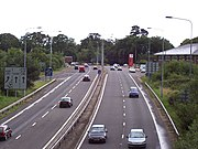 Southern end of the M3 motorway, meeting the A33 at Southampton