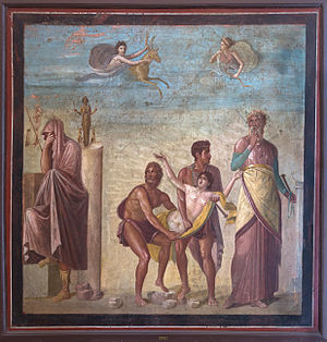 Roman art - Iphigenia in Aulis Wall painting from north wall of the House of the Tragic Poet, Pompeii