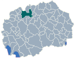 Location of the city of Skopje (green) in Macedonia