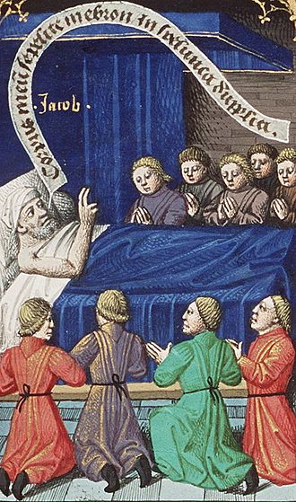 Blessing of Jacob - Jacob Blessing His Sons by François Maitre. The mention of a bed in Genesis 49:33 indicates that this is a deathbed speech.