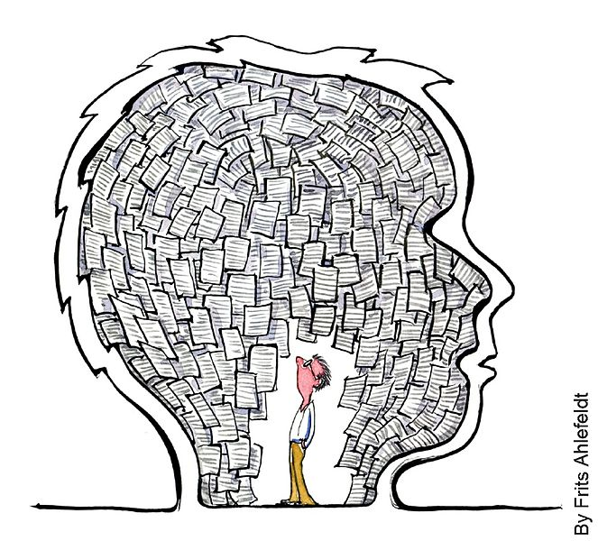 Drawing of a Homunculus kind of guy inside a head, looking at papers. Illustration by Frits Ahlefeldt.