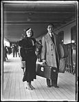 Man and woman (Eric Sheldon and wife?) on ship deck (3928476754).jpg