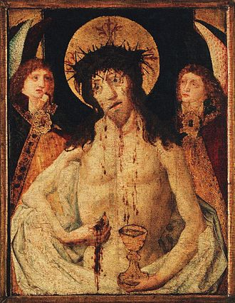 Bohemian Reformation - Man of Sorrows from the main Utraquist Church of Our Lady before Týn in Prague. It is a crucial artistic work of the Bohemian Reformation of the late 15th century. Christ touches the wound in his left flank, from which he takes a host (his body) while his blood flows into a chalice. The chalice – symbol of the Hussites – clearly demonstrates the practice of receiving the communion under both kinds.