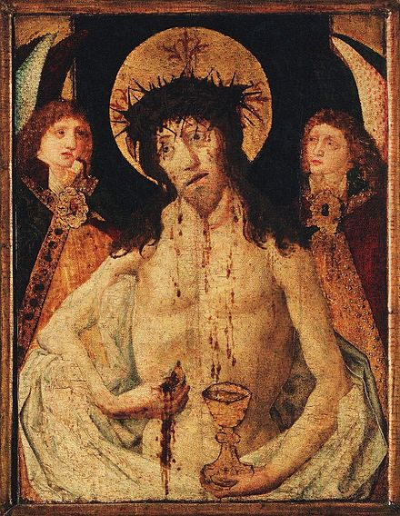 Man of Sorrows from Prague, c. 1470. Jesus Christ is taking out a host from his wound while his blood is flowing down into a chalice. The depiction of Christ, symbolically offering his body and blood, clearly demonstrates the practice of receiving the Communion under both kinds, which was crucial for the Bohemian Reformation of the 15th century. Man of Sorrows from Prague c1470.jpg