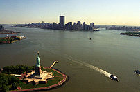 View of Manhattan from a helicopter, flying over Upper New York Bay.