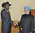 Manmohan Singh with the President of South Sudan, Gen. Salva Kiir Mayardit, in a bilateral meeting, on the sidelines of the 66th Session of the United Nations General Assembly, in New York on September 24, 2011.jpg