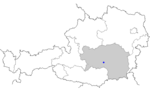 Map of Austria, position of Großlobming highlighted