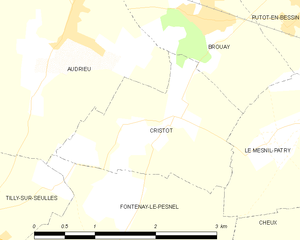 Battle of Le Mesnil-Patry - Map of Le Mesnil-Patry and Cristot (commune FR insee code 14205.png)