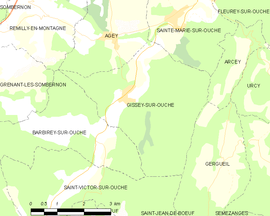 Mapa obce Gissey-sur-Ouche