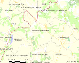 Mapa obce Champagne-et-Fontaine