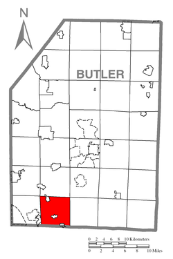 Location of Adams Township in Butler County
