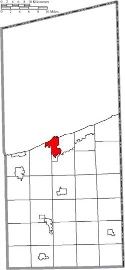 Location of Ashtabula in Ashtabula County