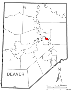 Map of East Rochester, Beaver County, Pennsylvania Highlighted.png