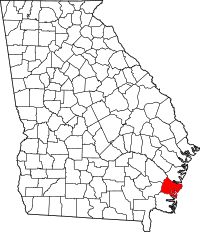 Map of Georgia highlighting Glynn County
