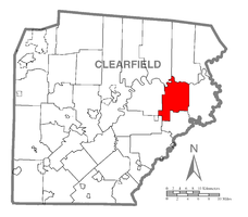 Map of Clearfield County, Pennsylvania highlighting Graham Township