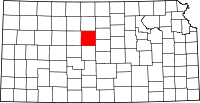 Map of Kansas highlighting Russell County