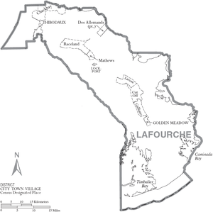 Lafourche Parish, Louisiana - Map of Lafourche Parish with municipal labels