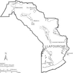 Map of Lafourche Parish, Louisiana, United Sta...