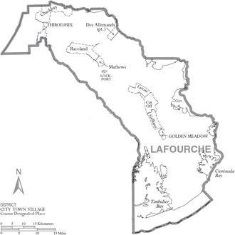 Lafourche Parish, Louisiana - Map of Lafourche Parish with municipal labels